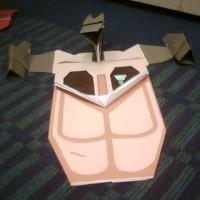 Origami Yoda in giant Origami Landspeeder