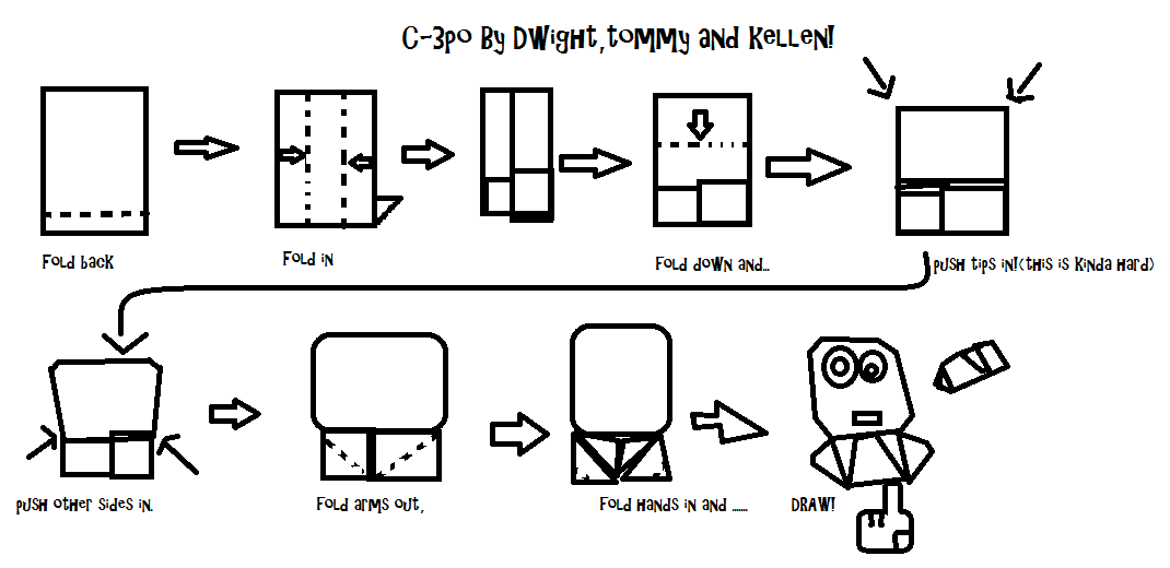 Origami C3po Finger Puppet Instructions