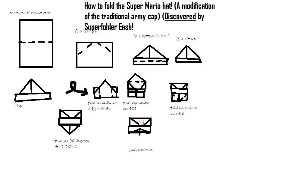 Superfolder Eashs Discovered Origami Super Mario Hat Origamiyoda