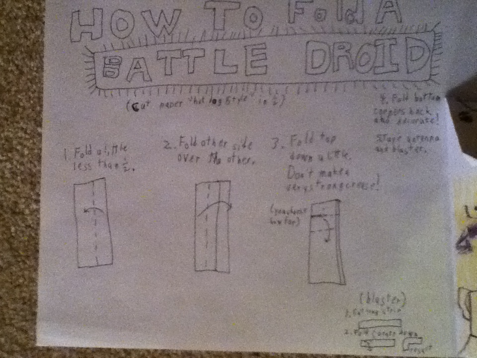 Superfolder nathaniel s battle droid instructions for Origami droid