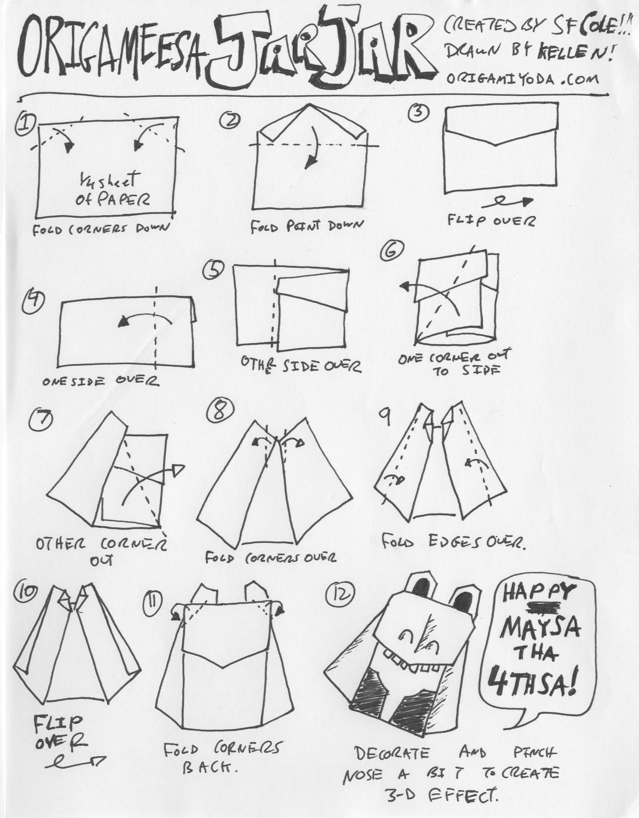 Origami Jar Jar Binks