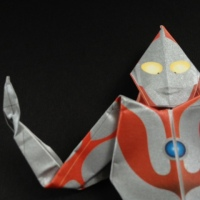Close-up portrait of Origami Ultra-Man